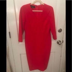 Bold bright red textured sheath dress, elegant 12